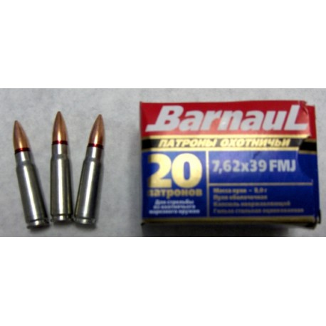 7.62 X 39 FMJ 123 gr Coated steel case pack of 1000