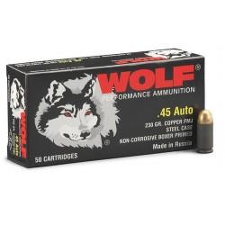 Wolf 45 ACP 230 grain FMJ non corrosive steel case polymer coated
