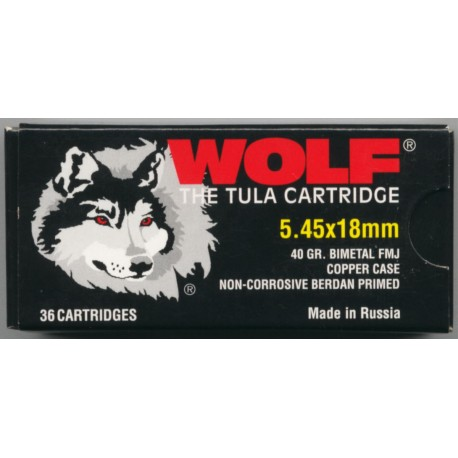 Wolf 5.45 X 18 40 grains FMJ copper case, non corrosive