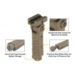 UTG Ambidextrous 5-position Foldable Foregrip, OD Green