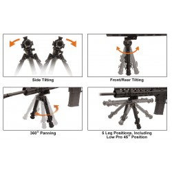 UTG Heavy Duty Recon 360 Bipod, Medium Ht: 17-23 cm