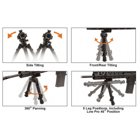 UTG Heavy Duty Recon 360 Bipod, Low Profile Ht: 14-18 cm
